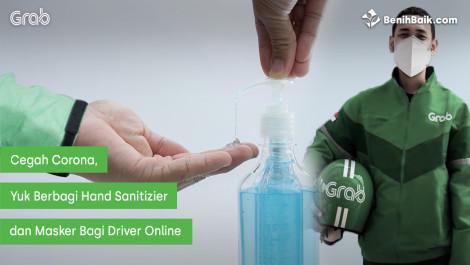 Berbagi Hand Sanitizier Dan Masker Untuk Driver Online